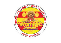 Personalised Waffle The Wonder Dog Birthday Party bag Thank You Stickers