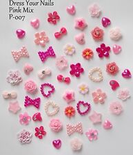 """3D PINK NAIL ART "" Resin Bow Flowers Hearts Pearls Stars Crafts Wedding - P-011"