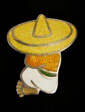 Jeronimo Fuentes Sterling Silver and Enamel Brooch Sombrero Man JF Mexico Taxco
