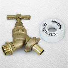 """1/2 """" 15mm extérieur plastron robinet avec PTFE plumer bande raccord tuyau vis de jardin en laiton"""