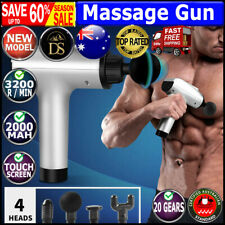 Massage Gun Deep Tissue Percussion Massager Muscle Vibrating Relaxing LCD 4 Head