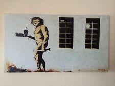 LARGE FRAMED BANKSY CANVAS PRINT WALL STREET ART GRAFFITI 45CM X 25CM