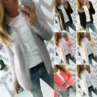 Womens Open Front Fluffy Cardigan Sweater Ladies Casual Coat Outwear Warm Jacket