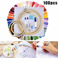 DIY Embroidery Beginners Kits Pre-Printed Floral Pattern Cross Stitch With Hoop