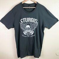 Sturgis South Dakota Motorcycle Men's Large Gray White Short Sleeve T Shirt