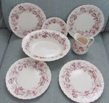 7 Pieces Wedgwood Purple Old Vine Shell Edge Salad Plates, Serving Bowl, Pitcher