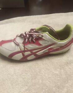 Asics Soccer Cleats Women Shoes Athletic White/Neon Green & Pink, Size 8.5