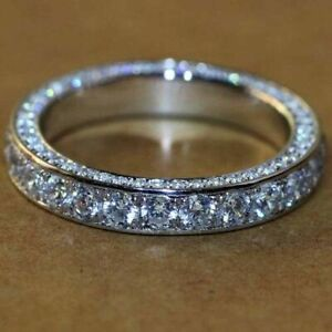 2.0CT Round Cut Diamond Eternity Anniversary Band Ring in 14k White Gold Finish