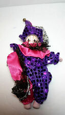 """New Orleans 8"""" Mardi Gras Pink and Purple Clown Doll   New Porcelain G1929"""