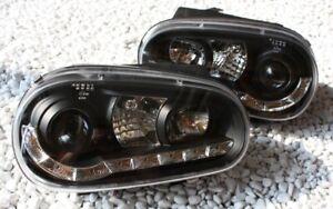 SCHEINWERFER SET für VW GOLF 4 IV LED TAGFAHRLICHT TFL-LOOK BLACK SCHWARZ NEU