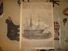 1854 ANTIQUE MARITIME PRINT NAVAL MILITARY SHIP BOAT NR