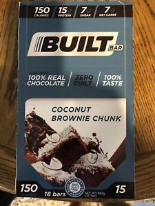BUILT BAR COCONUT BROWNIE CHUNK - 18 ct., unopened box. w/10/21 Exp. Date