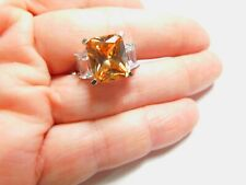 Rodium Light Golden Topaz Clear Cubic Zirconia Accent Ring Size 8 Vintage
