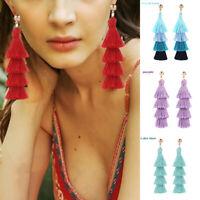 Boho Multi Layer Long Tassel Dangle Drop Hook Fashion Women Earrings Jewelry New