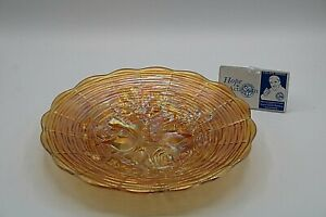 """Vintage Amber Marigold Carnival Glass Shallow Candy Dish 9 1/4"""" diameter"""