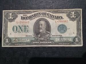 RARE! Dominion of Canada 1923 $1 Green Seal Bill Currency