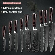 Japanese Kitchen Knife Set Stainless Steel Damascus Pattern Cleaver Chef Knives