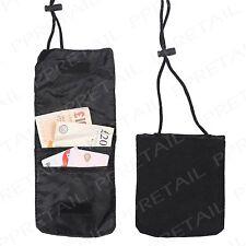 Travel Organiser-WITH 120CM ADJUSTABLE STRING-Black Neck Wallet Passport Holder