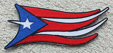 PUERTO RICO WAVING FLAG PATCH Embroidered Badge Iron Sew 10cm United States USA