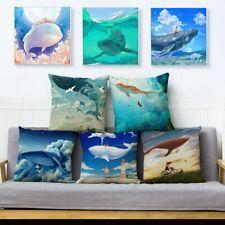 Cartoon Colorful Flying Whale Cushion Cover Throw Pillow Car Home Decor Animal