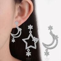 Genuine 925 Sterling Silver Rhinestone Crystal Moon And Star Stud Drop Earrings