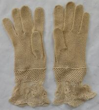 Vintage lace gloves ladies traditional fashion accessories size 6 approx beige