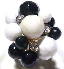 BIG LOOK STERLING SILVER ONYX WHITE CARVE BEAD CZ CLUSTER COCKTAIL RING SIZE 8