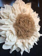 Fall Wreath Creme Flower Door Wreath Muslin Fabric Burlap Large
