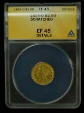 1854-O $2.50 Liberty Quarter Eagle Gold Coin ANACS EF-45 Details Scratched