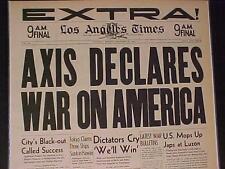 VINTAGE NEWSPAPER HEADLINE~WORLD WAR 2 German Axis Declares War USA WWII STARTS~
