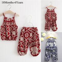 2Pcs Toddler Kids Baby Girls Vest Tops+Pants Summer Beach Outfits Clothes Set AU