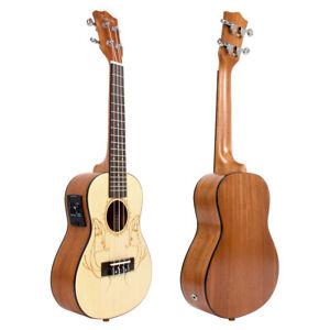 Kmise Concert Ukulele 23 Inch Ukelele Spruce Electric Acoustic Hawaii Guitar