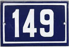 Old blue French house number 149 door gate plate plaque enamel metal sign steel