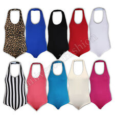 Ladies Bodysuit Halter Neck Womens Backless Top Leotard Dance Gym Ballet Summer
