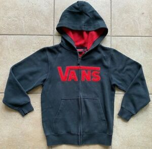 VANS Hoodie-Classic Cotton-Full Zip-Boys Size Small -Black with Red