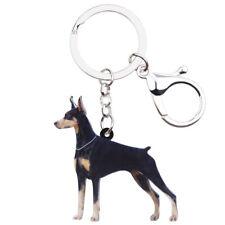 Acrylic Doberman Dog Car KeyChain Ring For Women Kid Wallet Pendant Jewelry Gift