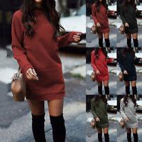 Women Winter Knitted Baggy Sweater Jumper Mini Dress Winter Long Pullover Top