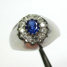 1436 - Aparter Ring aus 585 Weißgold mit Saphir und Diamanten - 1973
