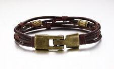 18K Gold GP Vintage Leather Classic Men's Bracelet Brown