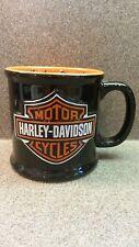 "HARLEY DAVIDSON CLASSIC BLACK ORANGE EMBOSSED BAR SHIELD LOGO COFFEE MUG 4"""