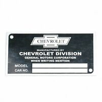 CHEVROLET - CLASSIC LOGO - DATA PLATE SERIAL NUMBER TAG HOT ROD RAT STREET ROD
