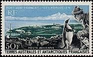 "TERRES AUSTRALES AERIENS N°14 ""PORT AUX FRANCAIS, KERGUELEN 50 F."" NEUF xx TTB"
