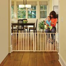 Baby Gate Expandable Hardware Mounted Wooden Child Safety Fence Extra Wide Swing