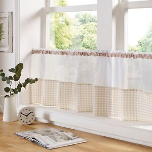 Gingham Check Beige & White Cafe Voile Curtain Panel✔Fast Despatch✔UK Seller✔