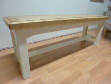 New Chunky Solid Oak & Cream Dining Bench *Furniture Store*