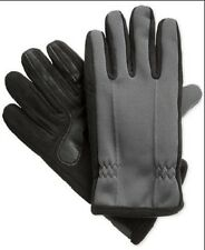 $177 ISOTONER MEN GRAY BLACK LEATHER TOUCH SCREEN THERMAL PHONE WINTER GLOVES L