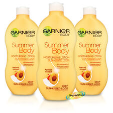 3x Garnier Summer Body Deep Even Tan Moisturiser Lotion 400ml Apricot Extract