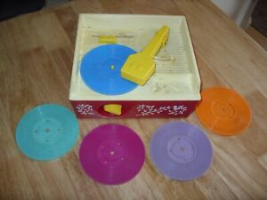 Vintage 1970s FISHER PRICE MUSIC BOX RECORD PLAYER with 5 DISCS - Fully Working