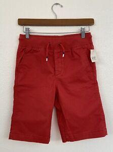 New Gap Kids Boys Weathered Red Elastic & Drawstring Waist Shorts Size XL