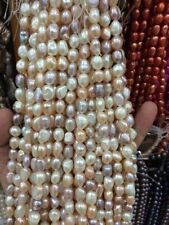 8-9mm Water Freshwater Cultured Pearl Flat Gemstone Loose Beads 13""